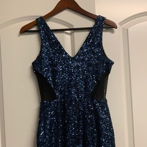 Bebe Blue sequined Dress With Mesh Sides Size S